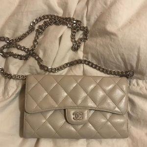 Chanel crossbody purse wallet on chain grey USED